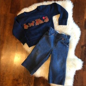 Vintage orange tan Levi's and bear sweatshirt 2T